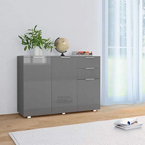Anrichte Sideboard Mehrzweckschrank Highboard Schubladenkommode Flurschrank, für Diele, Wohnzimmer Esszimmer Diele, Hochglanz-Grau 107 x 35 x 76 cm
