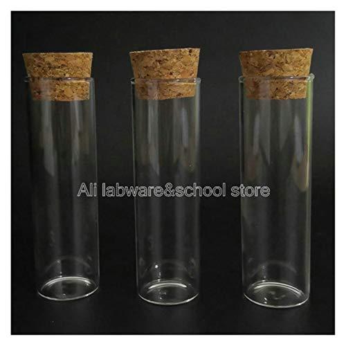 ZHANGSHENG Zsheng 5pcs / Pack 30x100mm Clear Lab Tube de ensayo de Vidrio con Tapones de Corcho Tubos de Fondo Plano Suministros de Laboratorio