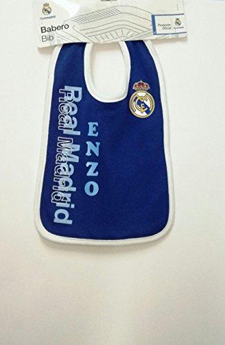 Babero para forofos del Real Madrid personalizado con el nombre de la bebé bordado