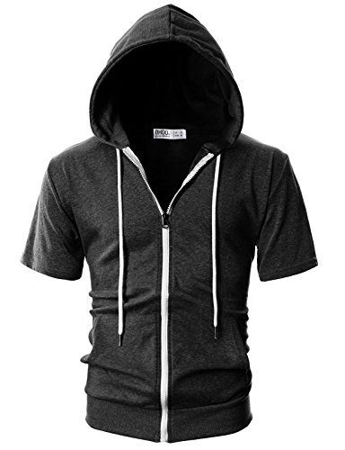 Ohoo Mens Slim Fit Short Sleeve Lightweight Zip-up Hoodie with Kanga Pocket/DCF007-CHARCOAL-XL