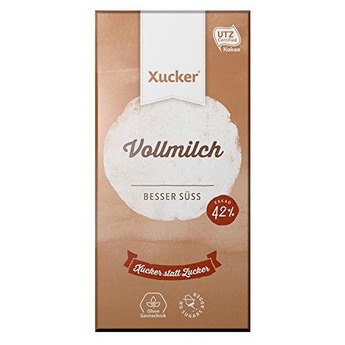 Xucker Vollmilchschokolade, UTZ-zertifiziert Schokolade ohne Zuckerzusatz mit Xylit, Vollmilch, 1 x 100g Tafel, 42% Kakaogehalt, Xukkolade