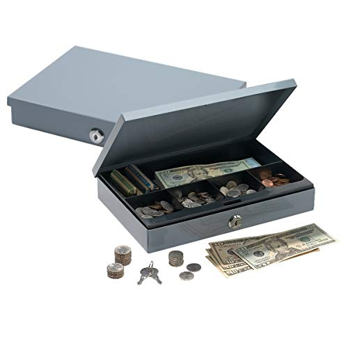 Ultra-Slim Cash Box with Security Lock, 2'H x 11 1/4'W x 7 1/2'D, Gray