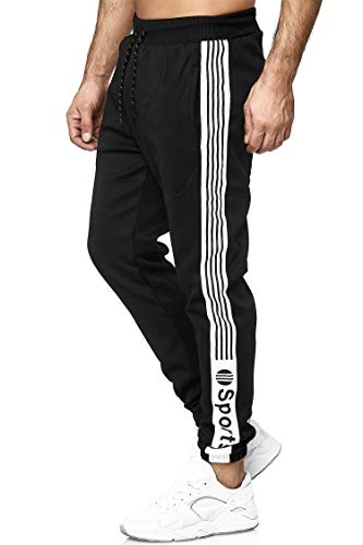 C-iN-C Herren Jogginghose Sporthose Fitness Slim Fit Hose Freizeithose Joggers Streetwear Model 1008-E (Schwarz(1188), S)