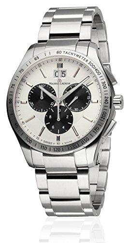 Maurice Lacroix Mi1028-Ss002-130 Reloj de hombre Miros Chrono de acero inoxidable esfera plateada Ss