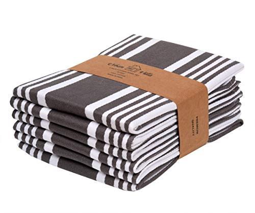 Urban Villa Kitchen Towels,Trendy Stripes, 100% Cotton Dish Towels, Mitered Corners, (Size: 20X30 Inch), Dove Grey/White Highly Absorbent Bar Towels & Tea Towels - (Set of 6)