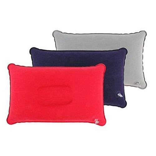 Quanjucheer, cuscino gonfiabile da viaggio, poggiatesta per auto, campeggio, aereo, letto, dormire, 38 cm x 25 cm (rosso)