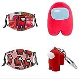 2 PCS Among Us Kids Reusable Face Mask+1 PCS Among Us Plush Stuff Animal Plushies Toys Merch Plushie+ 1PCS Among Us Keychain Plushies Toys Gifts for Game Fans Crewmate (B)