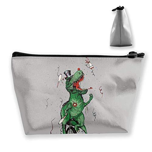 Bolsa de maquillaje cosmético humor dinosaurios monociclo portátil bolsa de cosméticos móvil trapezoidal bolsa de almacenamiento bolsas de viaje con cremallera