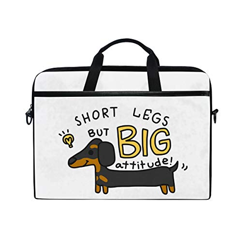 MRMIAN Funny Dachshund Dog with Quote Laptop Case Bag Sleeve Portable/Crossbody Messenger Briefcase Convertible w/Strap Pocket for MacBook Air/Pro Surface Dell ASUS hp Lenovo 15-15.4 inch