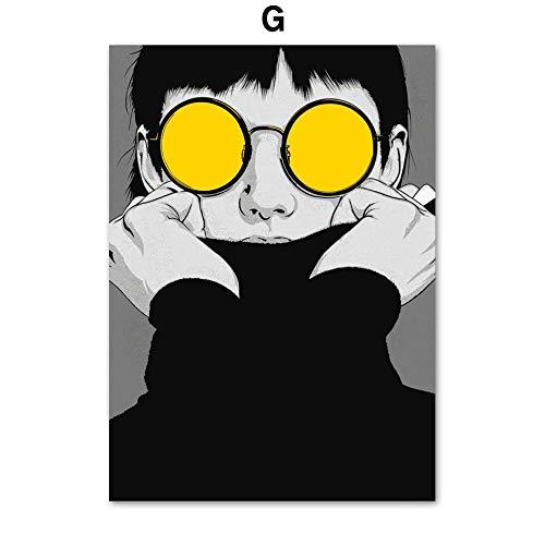 mmzki Schwarz Weiß Super Modell Cool Boy Comic Wandkunst Leinwand Malerei Nordic Poster Und Drucke wandbilder Für Wohnzimmer Decor 70x116 cm