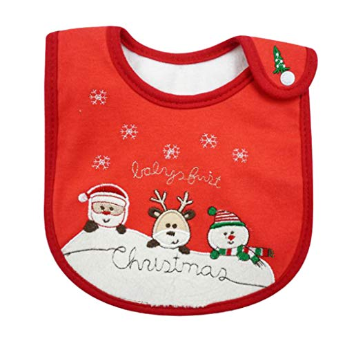 Yonger Baby Bandana Drool Teethers Bibs Infant Triangle Bibs Teething Saliva Towel with a Pocket Christmas Red