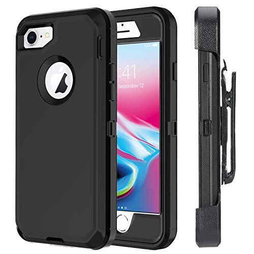 Ciameyo Case Compatible for iPhone 8 / iPhone 7, Heavy Duty with Built-in Screen Protector Rugged Shorkproof Defender Kickstand Cover for Apple iPhone 7 / iPhone 8 Black