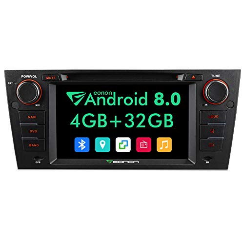Eonon Car Stereo Radio 7' Android 8.0, 4G RAM Car GPS Navigation Head Unit, Compatible with BMW 3 Series 2005-2011(E90/E91/E92/E93),Support Bluetooth, WiFi Connection- GA9165A