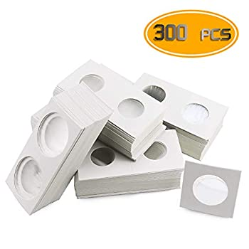 Nexxxi 300 Pcs Cardboard Coin Holder 6 Sizes 2  x 2  Currency Holders for Coin Collection Supplies
