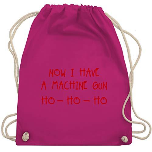 Weihnachten & Silvester - Ho Ho Ho Now I Have a Machine Gun - Unisize - Fuchsia - Geschenk - WM110 - Turnbeutel und Stoffbeutel aus Baumwolle