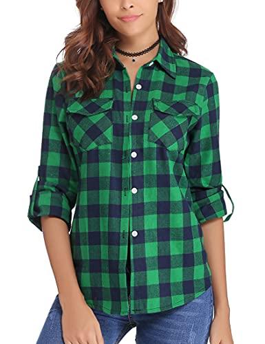 Cuadros de Camisas para Mujer,Blusas Tops Manga Larga con Botones Camisas Franela Casual Clásica