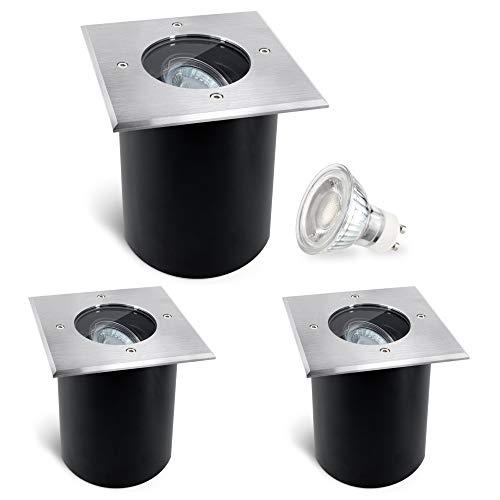 SSC-LUXon JUAVI 3er Set LED Bodenstrahler schwenkbar Außen IP67 eckig - LED GU10 3W neutralweiß 230V - Einbauleuchte Boden