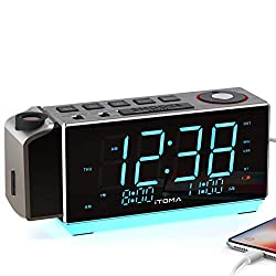 iTOMA Electronic Alarm Clock Radio-Time Projection,FM Radio,Dual Alarm,Snooze,Brightness Dimmer,USB Charging Port,Big Display,Backup Battery,Earphone Jack,Night Light (CKS509)