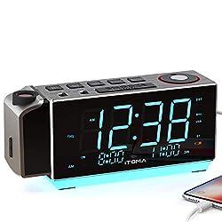 Electronic Alarm Clock Radio-Time Projection,FM Radio,Dual Alarm,Snooze,Brightness Dimmer,USB Charging Port,Big Display,Backup Battery,Earphon Jack, Night Light iTOMA CKS509