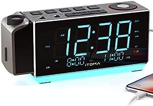iTOMA Electronic Alarm Clock Radio-Time Projection,FM Radio,Dual Alarm,Snooze,Brightness Dimmer,USB Charging Port,Big Display,Backup Battery,Earphon Jack,Night Light iRP509 (iTOMA iRP509)