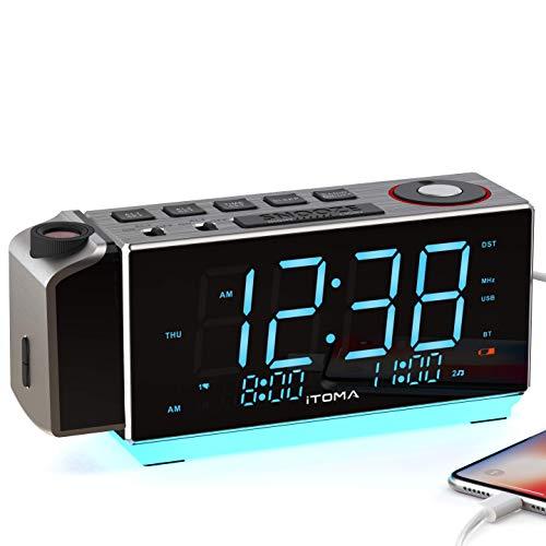 iTOMA Electronic Alarm Clock Radio-Time Projection,FM Radio,Dual Alarm,Snooze,Brightness Dimmer,USB Charging Port,Big Display,Backup Battery,Earphon Jack,Night Light iRP509
