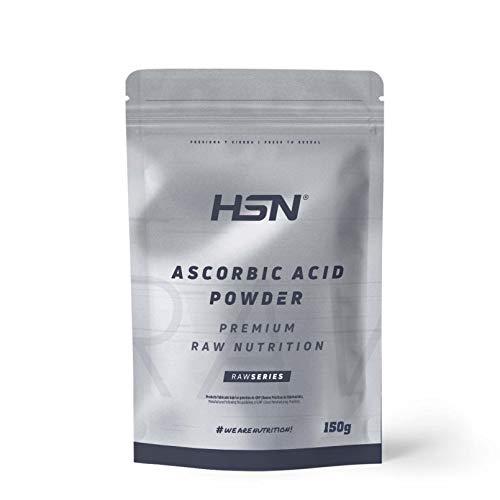 Vitamina C en Polvo (Ácido Ascórbico) de HSN | Antioxidante Natural, Antiinflamatorio, para Crear Colágeno | Vegano, Sin Gluten, Sin Lactosa, Libre OGM, Sin Sabor, 150 gr