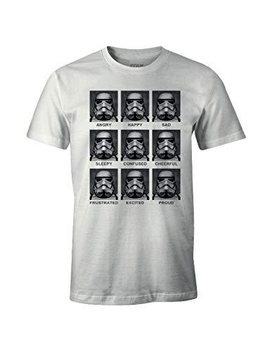Star Wars Herren Trooper Emotions T-Shirt, Weiß, XX-Large