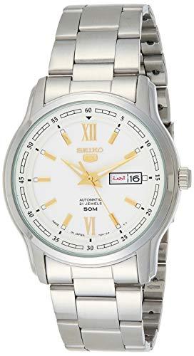Seiko 5 automático esfera blanca reloj de hombre de acero inoxidable de plata SNKP15K1