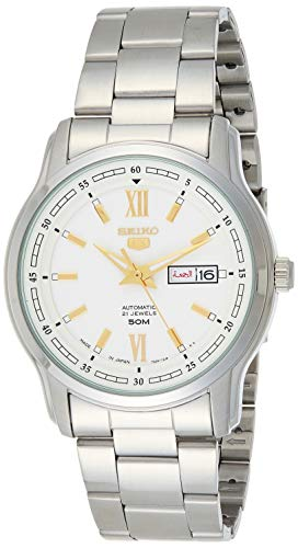 Seiko SNKP15K1 - Orologio automatico da uomo, in acciaio inox, quadrante bianco