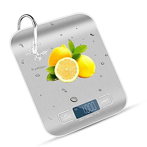 Balance Cuisine Electronique Precision 0,001 kg -Avec Ecran LED Clair, Surface en Acier Inoxydable Etanche et Facile à Nettoyer, Rechargeable (Y Compris Le Câble USB et La Batterie AAA)