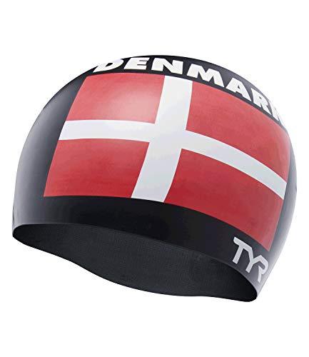 TYR Denmark Silicone Swim cap, Cuffia da Piscina con Bandiera Danimarca Unisex-Adult, Black, Unica