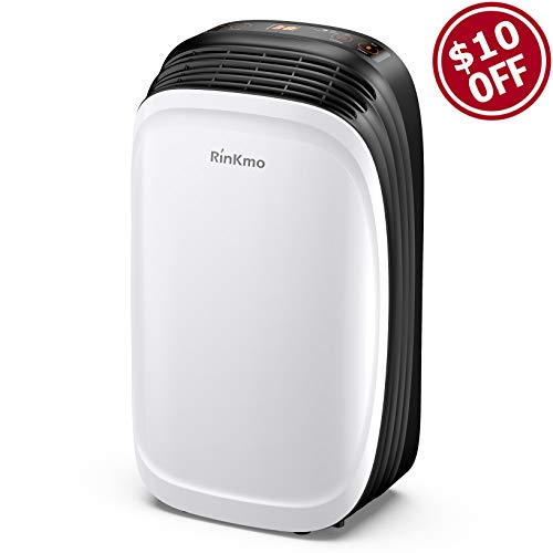 RINKMO 30 Pint Dehumidifiers for Basements with Continuous Drain Hose, Safe Mid Size...