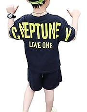 [ウェアビー]上下セットアップ Tシャツ ハーフパンツ バックロゴ プリント キッズ ボーイズ 90~140