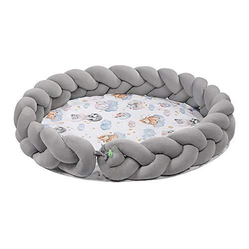 LULANDO Spielmatte für Kinder, Matte mit einem Durchmesser von 100 cm, 100% Baumwolle, Bodenmatte für Kinder, Kindermatte, Matte für Babys, runde Spielmatte (Sleepy) 5902659886422