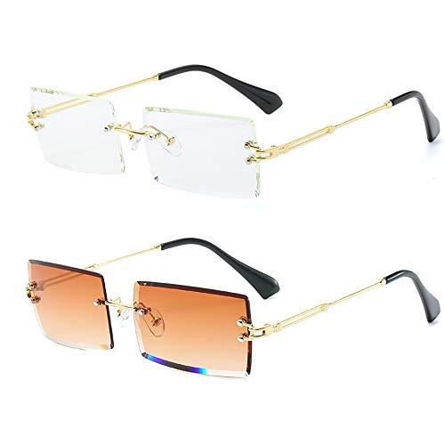 Dollger 2PCS Rimless Rectangle Sunglasses for Women Fashion Frameless Square Glasses for Men Ultralight UV400 Eyewear Brown+transprent