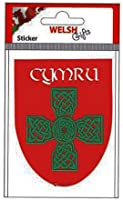Sticker Cymru and Celtic Cross on Red Shield