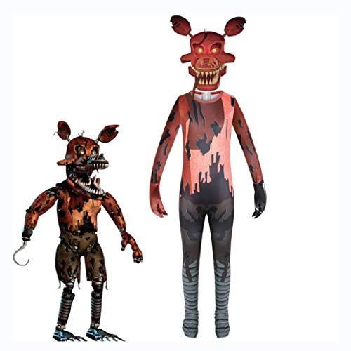 Zhujiao Disfraces de FNAF para niños Nightmare, Five Nights at Freddy'S Costume Nightmare Foxy Disfraces de Cosplay Mono Disfraces de Fiesta de Halloween Conjunto Completo para niñas niños