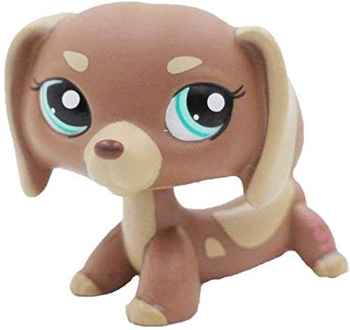N/N Littlest Pet Shop, LPS Toy Rare Little Pet Animal Figures Cream Tan Brown Short Hair Dog Dachshund Teckel Blue Eyes Gift Dog Figure Toy