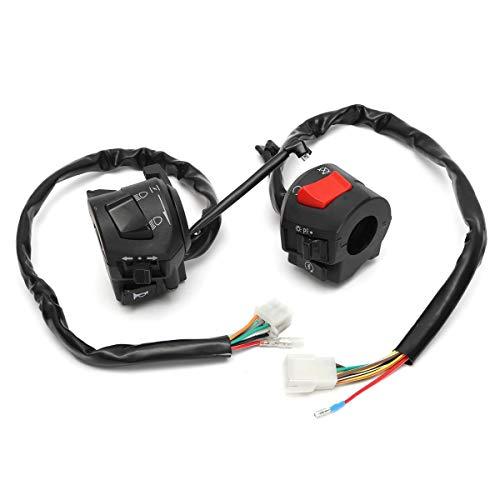 WANGXINQUAN 12V de la Motocicleta 7/8' Conmutador de Control del Manillar Cuerno Interruptor del Intermitente del Faro de Arranque eléctrico Conector Interruptor de botón