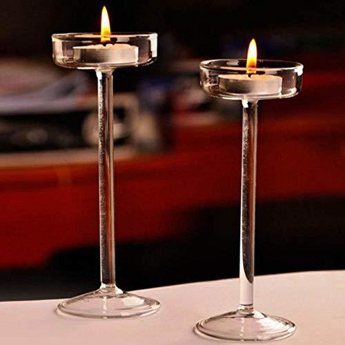Qingsb Europese Hoge Kandelaar Glazen Kaarshouder Romantisch Diner Decoratie, 11CM