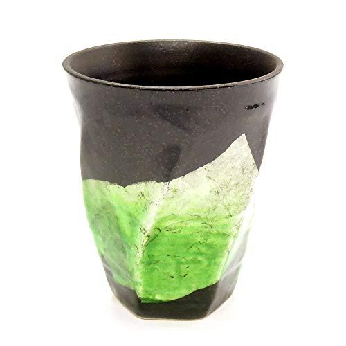 九谷焼陶器の荒削り焼酎グラス銀彩(グリーン)