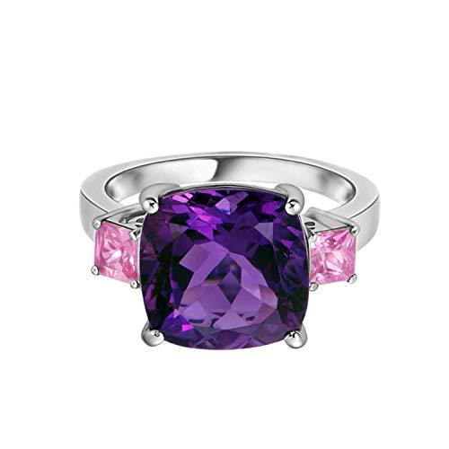 Shine Jewel 2.05 CTW Anillo de cóctel con Piedras Preciosas de Amatista y cojín de Plata 925 con zafiros Rosados (12)