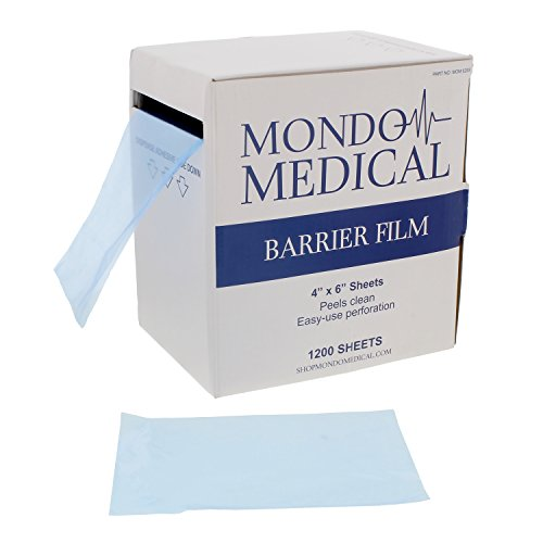 MonMed Barrier Film and Film Box Dispenser - 1200 Blue Tape Barrier Sheets Medical Barrier Film, 4 x 6 Inch