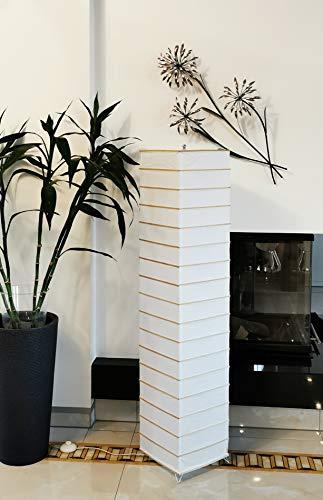Trango 1214 Lámpara de pie de diseño moderno de papel de arroz, hecha a mano, rectangular, con varillas decorativas de bambú, 125 cm de alto, lámpara decorativa para salón, lámpara de pie con pantalla