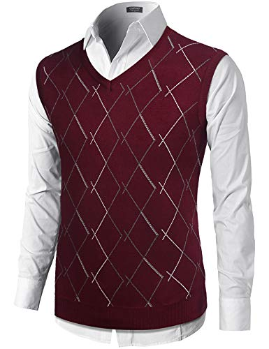 COOFANDY Men's Casual Slim Fit V Neck Knit Sweater Vest Sleeveless Pullover Sweaters Vest
