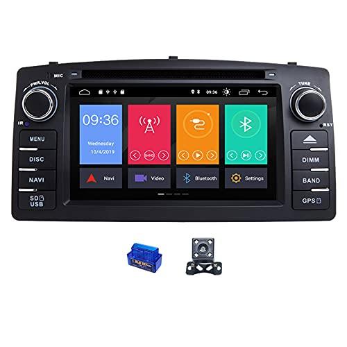 HAZYJT Dsp 4gb 64gb 2 DIN Android 10 Reproductor De DVD para Coche Multimedia Estéreo GPS Auto Radio Navegación 8 Core Compatible con To-yota Corolla E120