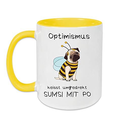 Yoner Tasse Hund Biene Optimismus heisst umgekehrt Sumsi mit Po Tasse Geschenktasse Liebhaber Freundgeschenk Tolles Geschenk für Frau oder Mann Arbeitskollegin
