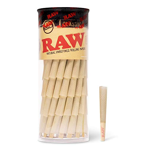 RAW Cones Classic Single Size 70/24 for a Single-use Mini Preroll to Enjoy a Quick Sesh - 100 Cone Pack