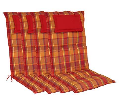 elGiga Hochlehner-Auflage 4-Stück Classic Rot Orange kariert 120 x 50 x 8 cm für Gartenstuhl, mit Kopfpolster, hochwertig, waschbar und pflegeleicht