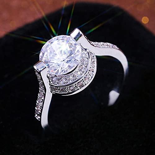 DJMJHG Anillos de Diamantes de Compromiso de Plata esterlina 925 para Mujeres Bodas de Moda de Temperamento Simple clásico Tamaño6,7,8,9,10 9